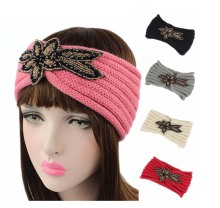 Fashion women jewelry beads flower Sparkle Floral knitted headbands knit headwrap  hair accessories