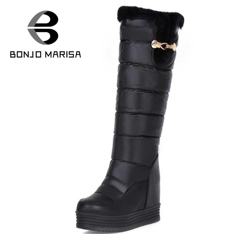 warm round toe solid small inner heels slip on buckle thick platform knee-high boots extra size women sweet girls winter shoes<br><br>Aliexpress