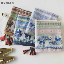 KYQIAO Cartoon scarf 2017 women spring autumn Thailand style long blue green pink cartoon elephant print scarf muffler cape