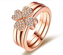 Solid Rose Gold 750 Four Clover Porcelain Synthetic Diamant Wedding Ring For Women Everlasting Quality Promise Love Gift For Her(China)
