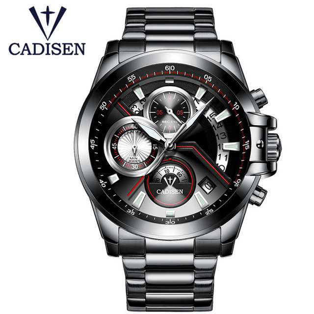 2017 CADISEN Brand Fashion Military Army Sports Casual Waterproof Mens Watch Quartz Stainless Steel Male Clock Relogio Masculino<br>