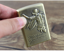 Fashion Kerosene Both Side Relief Michael Jackson Lighter Portable Pocket Cigarette Lighter