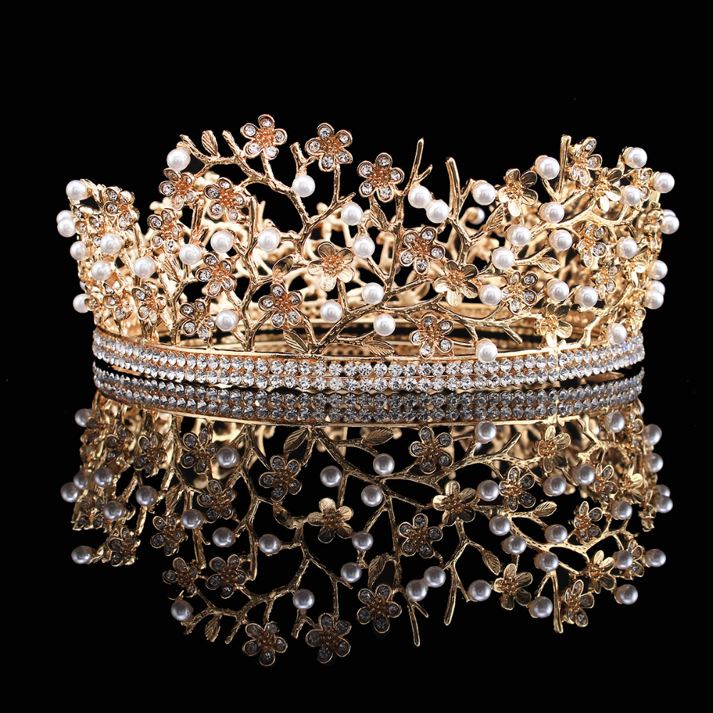 Gold Rhinestone Simulated Pearl Crown Queen Bridal Headpieces Prom Party Pageant Tiara Headbands Xmas Tree Branch Design HG00190(China (Mainland))