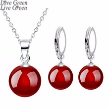 2017 8mm new arrival shine natural stone red black women silver plated drop necklace earrings fashion Jewelry sets 80316(China)