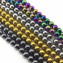 4 colors natural hematite stone round magnetic nomagnetic loose beads 4mm 6mm 8mm 10mm 12mm hot sale jewelry making 15inch B179