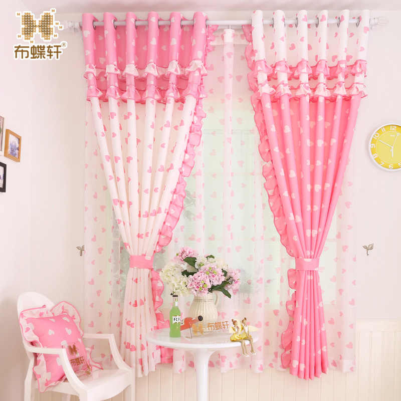 Hot Sale! Korean Style Pink Rose Design Cartoon Curtains For Children Girls Living Room Bedroom Cute Flounce Shades Customized