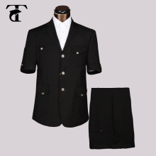 2016 Summer Short Sleeve Blazer Masculine Office Uniform Design Garment Factory Fancy Suits For Men Apparel Safari Suit(China)