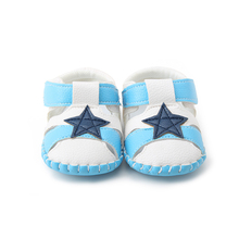 Delebao 2017 Summer New Design Star Patchwork Stripe Connected Blue and White Colors Soft Sole Baby Boy & Girl Shoes