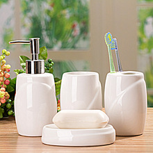 Simple pure white four-piece ceramic bathroom set toiletries toothbrush holder bathroom accessories bathroom amenities