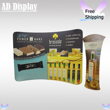 Trade Show Booth 10ft*7.5ft Portable Curved Tension Fabric Banner Display Backwall With Advertising Tower Stand,Easy Tube System(China)