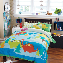 Cute Cartoon Animal Pattern Children Room Duvet Cover Sheet Set 100% Cotton Reactive Printing Dinosaur Pattern Bedding Set(China)
