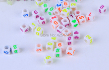 Factory Direct Sell 2700PCS/Lot 6*6MM Square Acrylic Alphabet Letter Beads Cube Jewelry Bracelet Beads with Noen Color Numbers