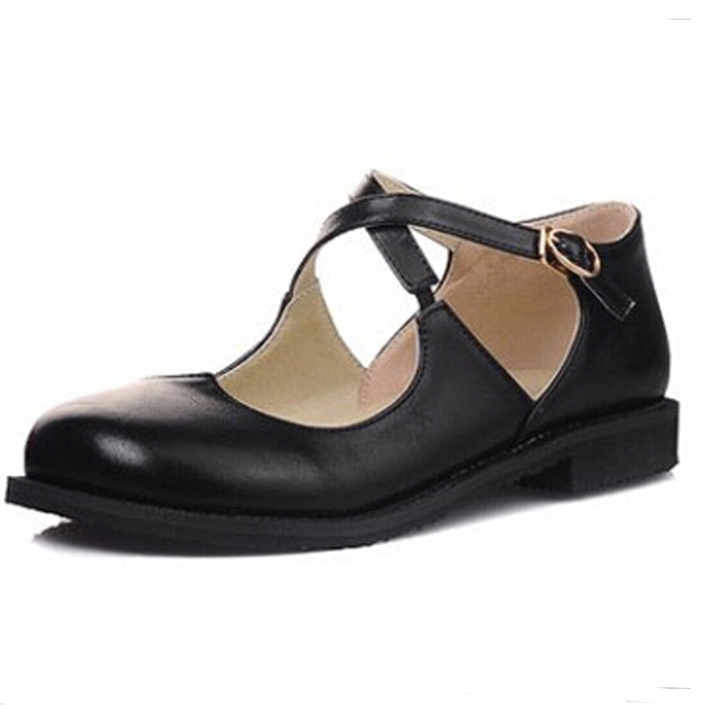 Round Toe Hollow Out Flats,Cross Band Shallow Buckle Strap Women Casual Vintage Shoes England Style Oxfords Big Small Size 31-43<br><br>Aliexpress
