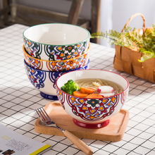 ceramic bowl 722ml handpainted under glazed eco-friendly suitable for oven microwave 5 inch cute simple floral rice soup bowls(China)