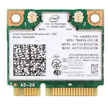 876 м Dual Band 2,4 + 5 г Bluetooth V4.0 Wi-Fi Беспроводной Mini PCI-Express Card для Intel 7260 AC 7260HMW 7265 IT-7265HMW 8260(China)