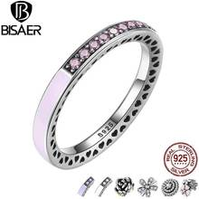 BISAER 9 Style Original 925 Sterling Silver Dazzling Daisy Flower Pink Purple White Radiant Hearts Ring Clear CZ Jewelry