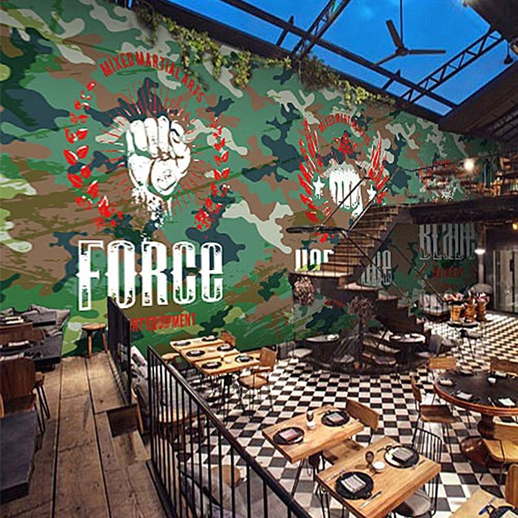 Free Shipping Camouflage mural wallpaper bar lounge Cafe Restaurant arcade amusement theme hand-painted graffiti wallpaper<br><br>Aliexpress