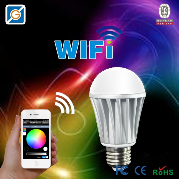 Magic 7W E27 wifi RGBW led light bulb smart Wireless remote control le lamp color change dimmable for home hotel IOS Android(China (Mainland))