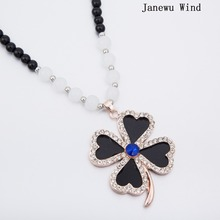 Janewu Wind Heart Leaf Pendant Necklace women Black Beads long chain Mascot Necklace female (with box)(China)