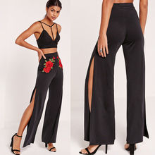 Women Boho High Waist Floral Palazzo Pants Wide Leg Long Trousers Loose Embroidered Floral Slim Culottes Pants