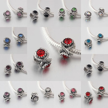 free shipping 1pc silver European 13 color can choose crystal big hole bead charm Fits Pandora Charm Bracelets A116