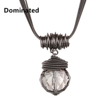 2015 New Arrival Women Pendant Necklaces The Big Drop Long Paragraph Sweater Chain All-match Decorative Crystal Necklace Pendant(China)