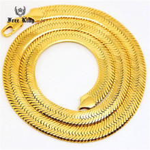 "Mens 14mm Thick 20""  30""inch Solid Flat Herringbone Chain  ASAP ROCKY 24K Gold Plated  Hip Hop Snake Chain Celebrity Style"
