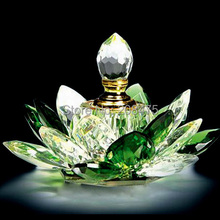 Feng Shui Home Decoration Empty Refillable Crystal Attar Essential Oil bottle Perfume with Lotus Shape(China)