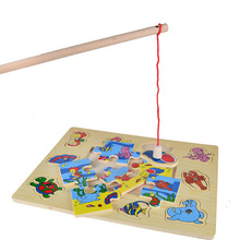 BOHS Wooden Kids Magnetic Marine Animals Fishing Game Board + Puzzles, 2 in 1 Toys(China)