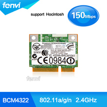 Broadcom BCM943224HMS 150Mbps DW1520 BCM4322  Mini PCI-e Wireless Wifi card 802.11A/G/N Half Height Mini Notebook Wlan WIFI Card