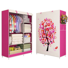 Wardrobe 3D painting design Non-woven Steel frame reinforcement Standing Storage Organizer Detachable Clothing Closet furniture(China)