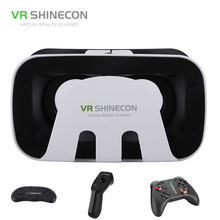 VR SHINECON 3D Box Pro Cardboard Helmet Virtual Glasses Goggles Headset Cardboard VR With Gamepad For Android IOS Phones