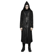 Punk Hooded Long Men Trench Coat Belt Cross Leather Stitching Lengthened Jacket Windproof Zip Pocket With Zipper Cuffs Coat(China)