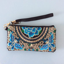 New chinese style embroidery peony clutch women embroidered butterfly plum flower clutches  woman zipper casual mobile phone bag
