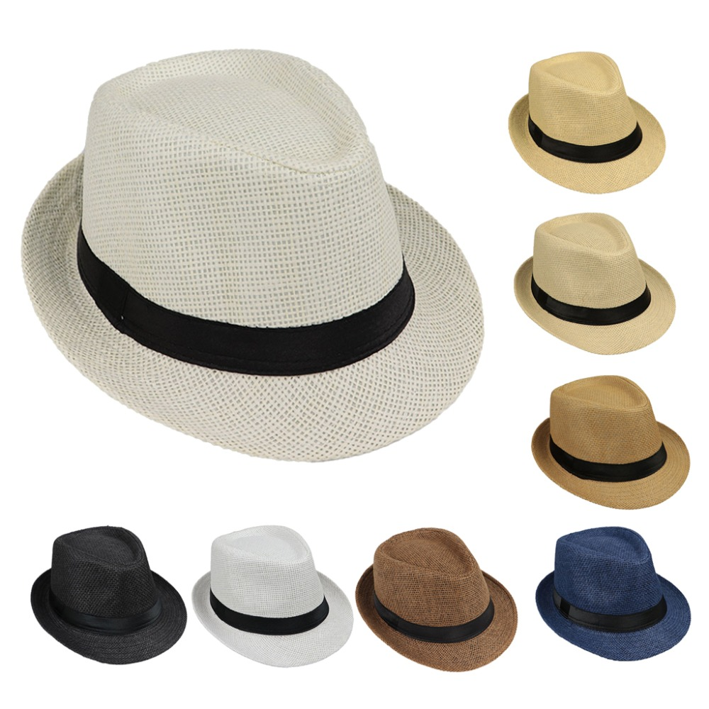 Children Kids Summer Beach Straw Hat Jazz Panama Trilby Fedora Hat Gangster Cap Outdoor Breathable Hats Girls Boys Sunhat(China)