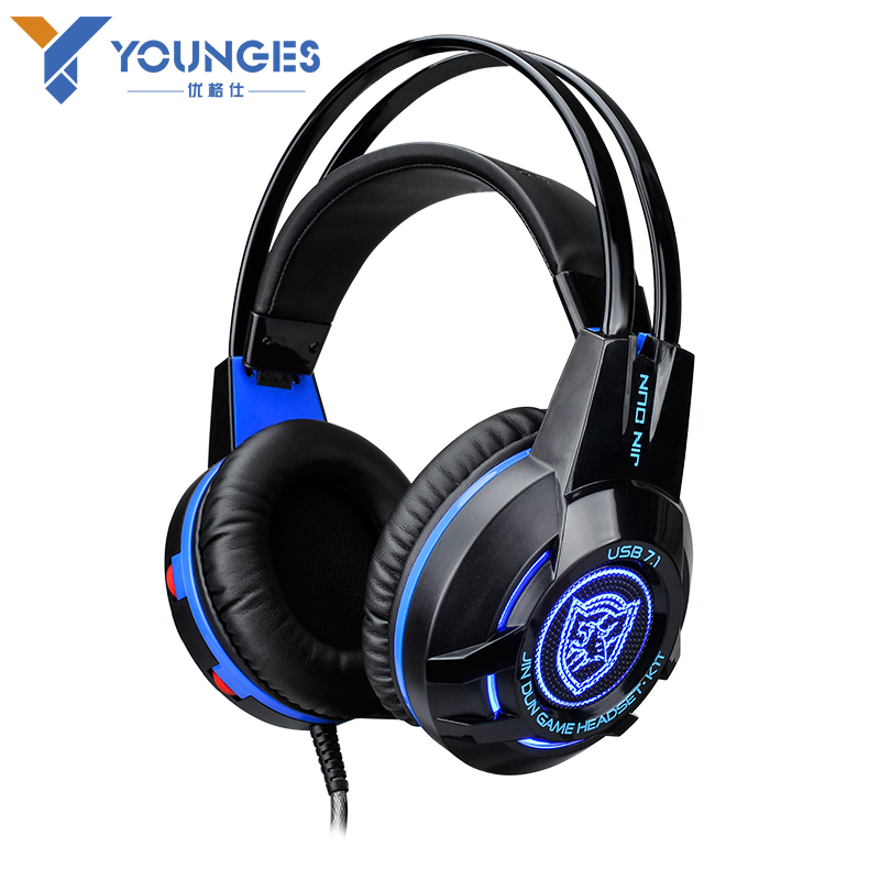 High-quality computer with microphone Game headphone YG-1T 7.1 USB surround sound Game headset Stereo vibration Glowing headset<br>