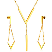 "Brand New ""V"" Style Stainless Steel Jewelry Set,Women Fashion Jewelry With Chain"