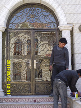 Custom design 2500mm x 2400mm Wrought Iron Entry Double Doors Wrought Iron Entry Doors(China)