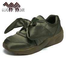 LUONTNOR Green Women Bow Shoes Popular Satin Bow Sneakers for Ladies Bowknot Sports Shoes Flats Female Pink Silver Beige