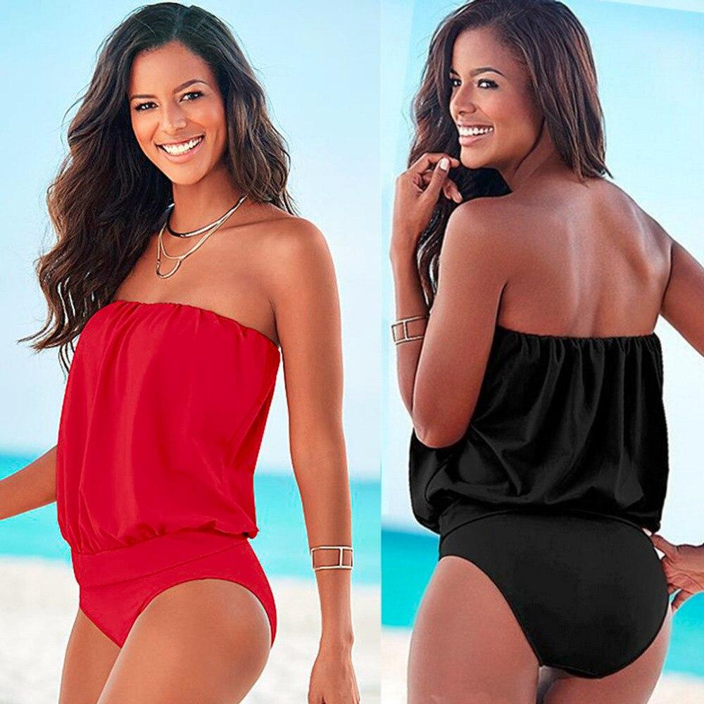 HW2016 New Summer Sexy Women Piece Swimsiut Strapless Bikini Bandage Bodycon Swimwear New Brand<br>