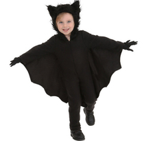 2017 Children halloween costume masquerade Black Zipper Jumpsuit Connect wings cute bat man cosplay costume for boys and girls