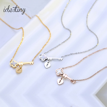 Fashion clover pendant with key charm necklace for women titanium stainless shell famous brands jewelry wholesale best gift