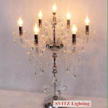 Italy led candle glass crystal table lamp transparent crystal candle holders modern crystal table light wedding candelabra(China)