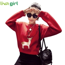Christmas Clothing Women Fashion Xmas Elk Print Sweater Casual Lady Girl Slim Fit Long Sleeve Jumper Knitwear Blouse Tops Nov29