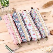 New Hot Sale  Fashiong School Girls Flower Lace Floral Pencil Case Pen Bag Purse Cosmetic Makeup Pouch Bag Free Shipping