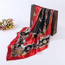 Top Quality New Satin Scarf 90X90CM Big Square Handkerchief Vintage Metal Link Chain Scarfs Fashion Girls Flower Headband Red