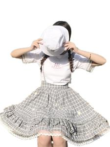 Suspender Skirt Ruffle Lace A-Line Plaid Japanese Soft Lolita High-Waist Women Cute Summer