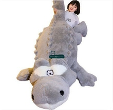 Dorimytrader 200cm Huge Cute Simulated Animal Crocodile Stuffed Pillow Cushion Big Cartoon Alligator Plush Toy Kids Doll DY60155(China)
