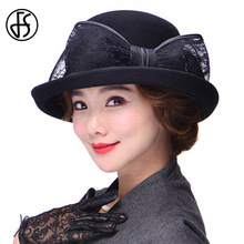 FS Ladies Wide Brim Bow Wool Fedora Hat Formal Black Red Bowler Floppy Caps Elegant Blue Church Hats Women Cloche Cap Sombrero(China)