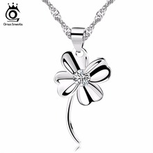 ORSA JEWELS Silver Four Leaf Clover Pendant Necklace Micro Paved 1 Piece AAA Austrian Cubic Zirconia Lucky Women Jewelry ON11